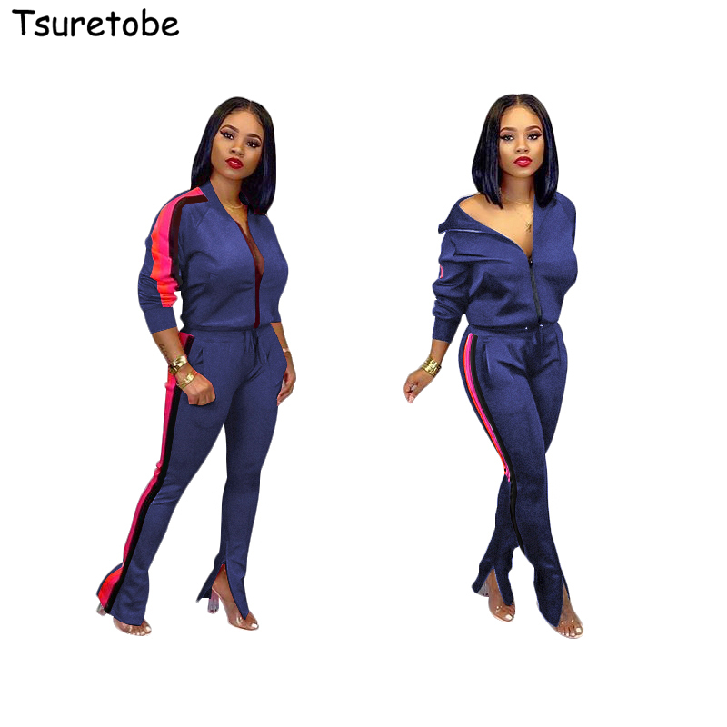 >Tsuretobe Autumn Tracksuit Two Piece Set Women Long Sleeve Coat With Zipper And <font><b>Split</b></font> <font><b>Pants</b></font> <font><b>Suits</b></font> Party Outfits Side Stripe Fema