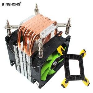 Кулер для процессора BINGHONG Intel 1151 1155, охлаждение 6 медных тепловых трубок, вентиляторы для охлаждения процессора 9 см для LGA 775 115X 1366 X58
