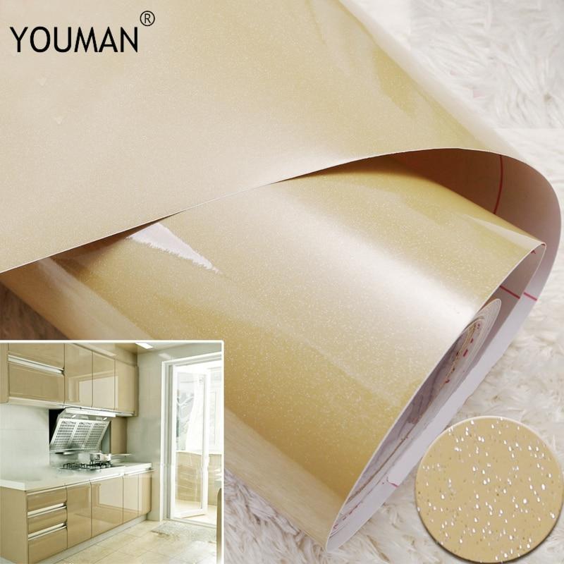 Купить с кэшбэком Wallpapers Youman Vinyl Stickers Self Adhesive In Rolls 3M/5M/10M Modern Multi-Color Kitchen Cabinet PVC For Kitchen Renovate