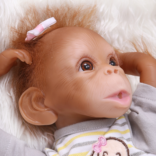 Realistic Baby Monkey Doll 16 inch 40 cm Lifelike Reborn Baby Monkey Handmade Detailed Painting Art Dolls with Stripe T-shirt