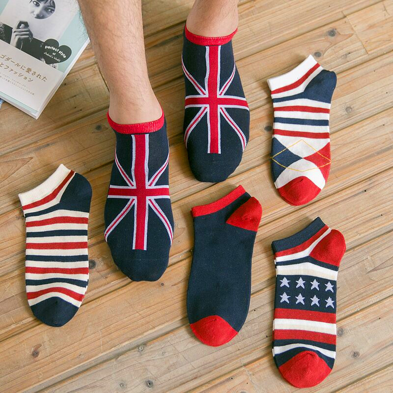 5 Pairs Men's Fashion National Flag Cotton Sock Slippers Breathable Male Non-Slip Invisible Boat Socks Striped Ankle Socks Meias
