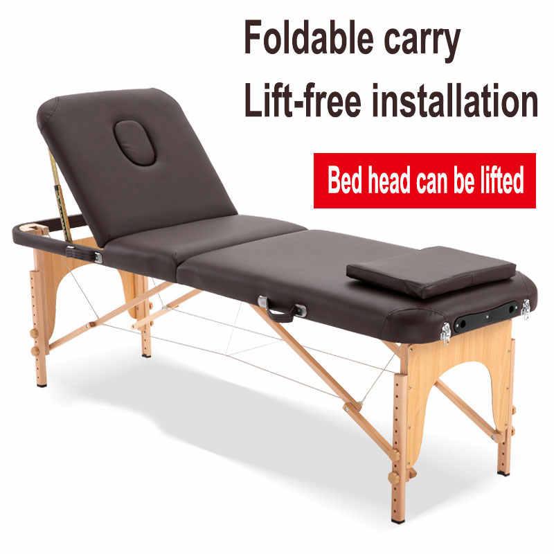 Mesa de Spa, cama de masaje ajustable, sofá de masaje con 3 pliegues, cama de salón portátil de aleación con almohada cuadrada, mochila portátil
