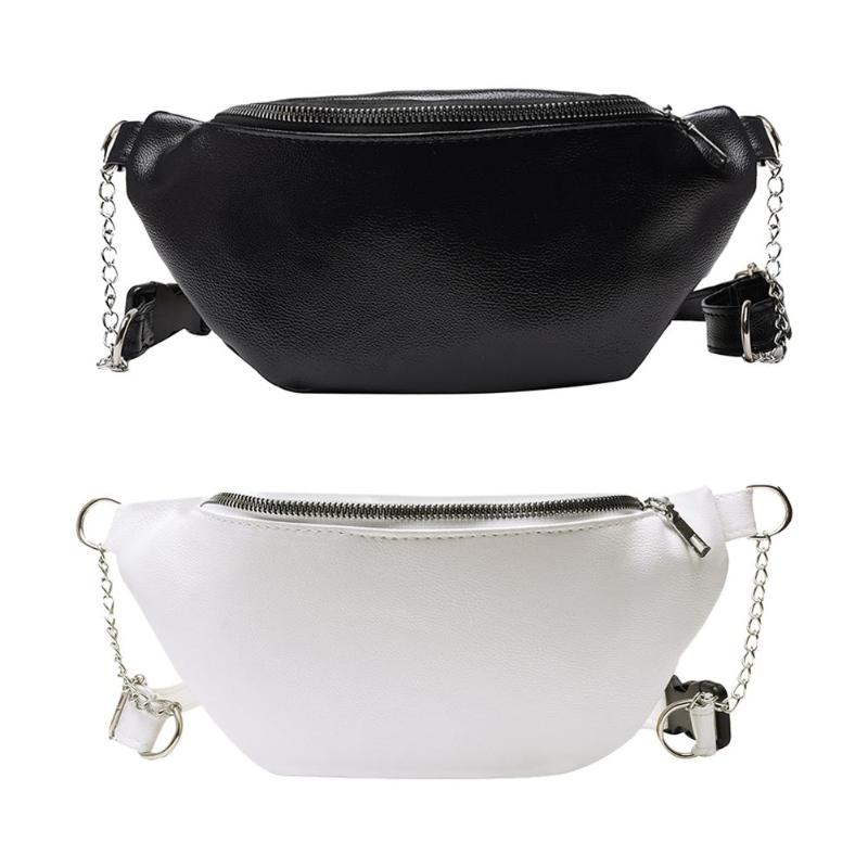 New Fashion Waist Packs Delicate Texture Casual Fanny Waist Pack Leather Women Shoulder Crossbody Bag Chain Money Pouch