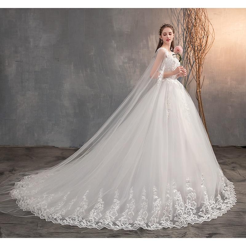 Long Cap Lace Wedding Gown Bridal Dress 4
