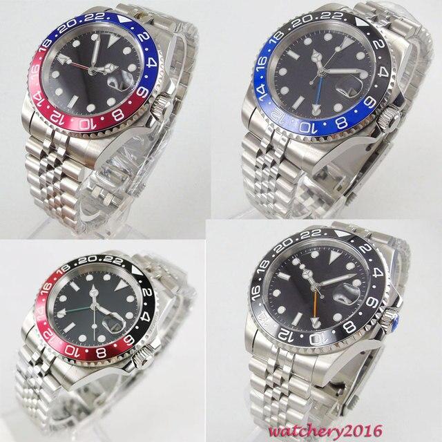 Parnis 40Mm Zwart Steriele Wijzerplaat Roterende Bezel Jubilee Armband Saffierglas Datum Gmt Automatische Beweging Heren Horloge