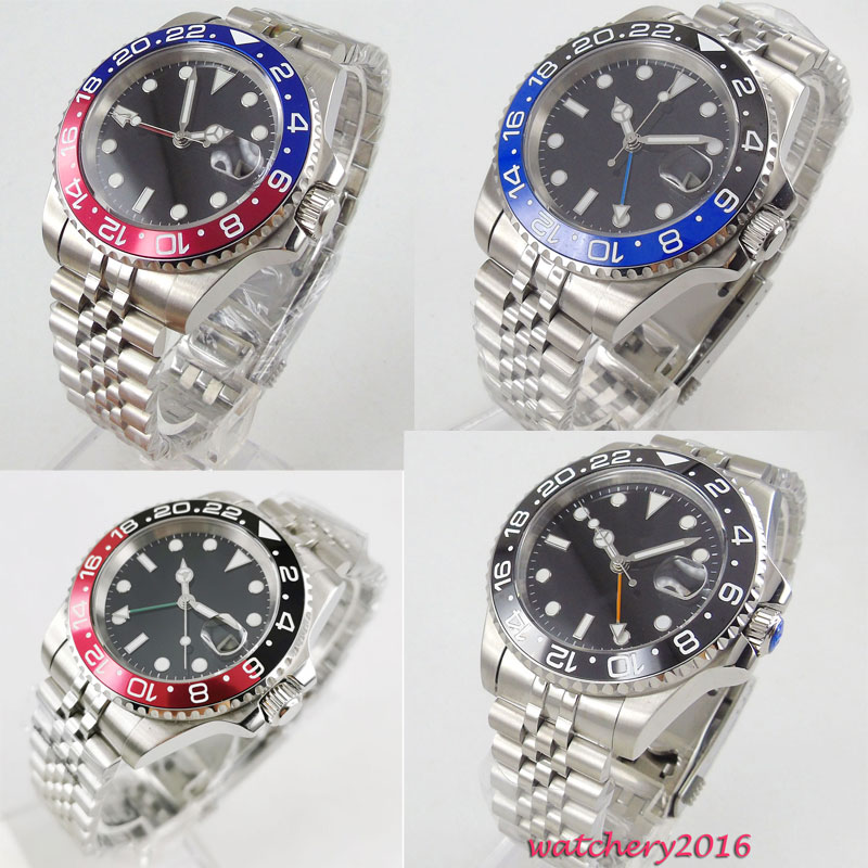 Parnis 40mm Black Sterile Dial Rotating Bezel jubilee bracelet Sapphire Glass Date GMT Automatic movement mens watch