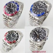 цена Parnis 40mm Black Sterile Dial Rotating Bezel jubilee bracelet Sapphire Glass Date GMT Automatic movement mens watch онлайн в 2017 году
