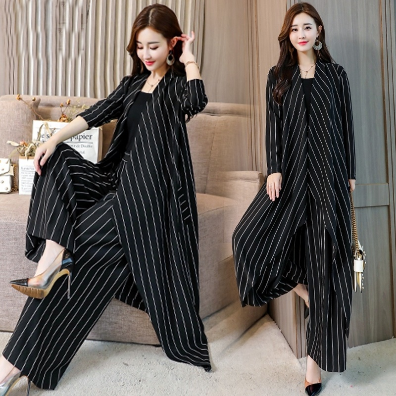 Fashion Stripe Suit For Women 2019 Summer New Print Top + Wide Leg Pants Trousers Elegant Two Piece Set Plus Size M-4Xl AA4979