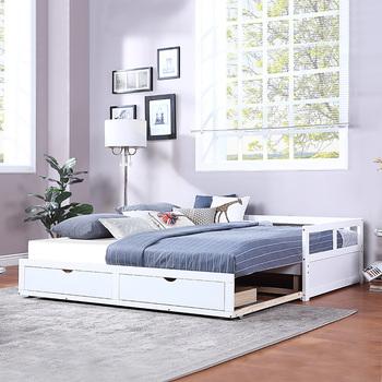 Wysuwane łóżko meble do sypialni Nordic sypialnia zestawy Mordern łóżka miejsce oszczędzania z wytrzymałą rama łóżka meble do sypialni zestaw tanie i dobre opinie Nowoczesne 2000mm CN (pochodzenie) 78 2 L x 79 W x 23 2 H Kompozytowe tkaniny Minimalistyczny nowoczesny SQUARE Miękkie łóżko
