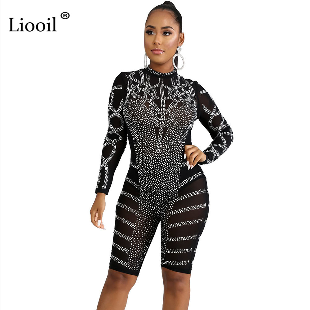 Liooil Rhinestone Club Romper Mesh Sheer Women Tight Jumpsuit Shorts 2019 Autumn Winter Long Sleeve Bodycon Party Sexy Playsuit