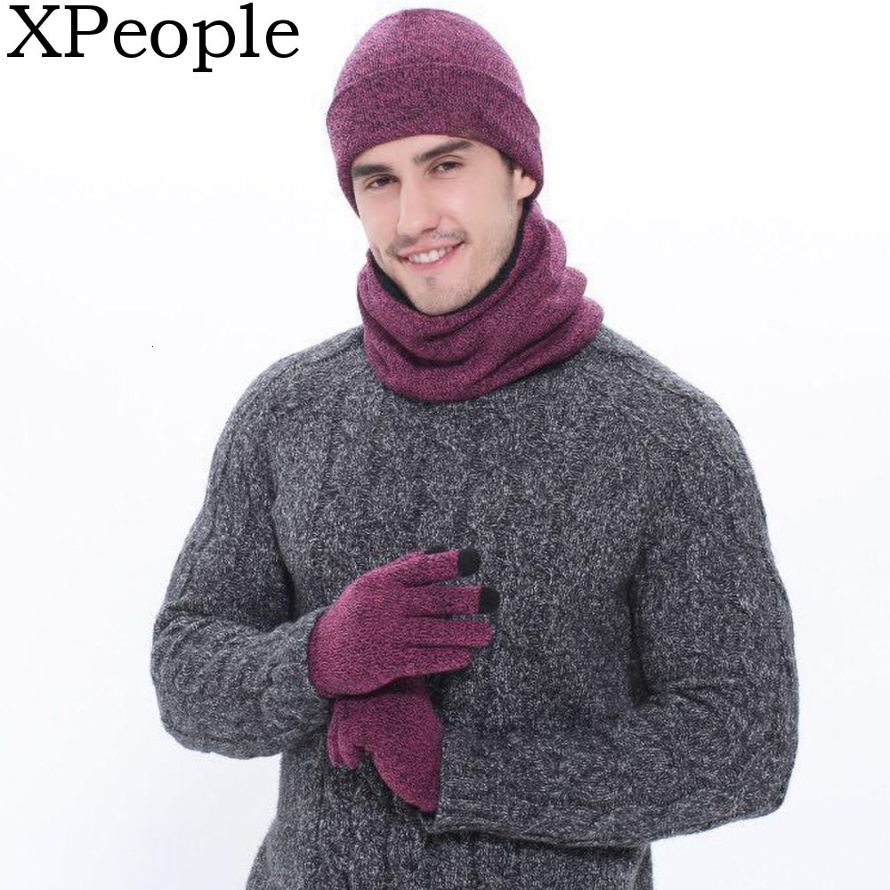 Winter 3Pcs Knit Hat And Fleece Lined Scarf Set With Touch Screen Gloves For Women And Men Thermal Neck Warmer