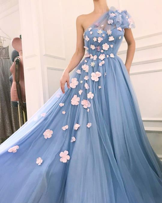 One Shoulder A Line Tulle Prom Dresses 2020 3D Floral Applique Beaded Formal Evening Gown Special Occasion Vestido Robe De Soire