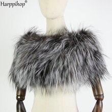 Women Fox Fur Shawl Winter Warming Shoulder Scarves Elastic Natural Stole Elegant Luxury Female Shawls For Wedding Party