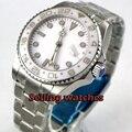 BLIGER 43mm weißes zifferblatt GMT keramik Lünette saphirglas automatische herren uhr-in Mechanische Uhren aus Uhren bei