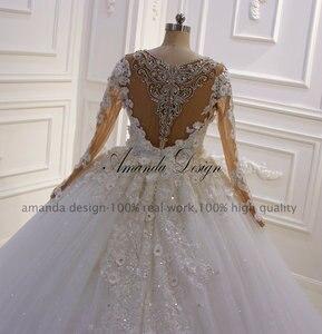 Image 4 - Vestido de novia con diseño de flores 3 D de manga larga con diamantes de imitación y cristales