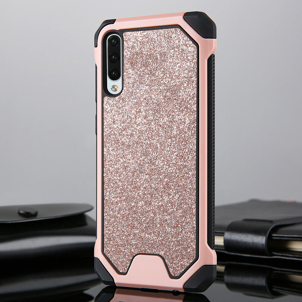 LAPOPNUT Glitter Bling TPU Armor Case for <font><b>Samsung</b></font> Galaxy <font><b>A50</b></font> A70 A40 A30 A20 A20e A10 M10 Shockproof Slim Hard Matte <font><b>Back</b></font> <font><b>Cover</b></font> image