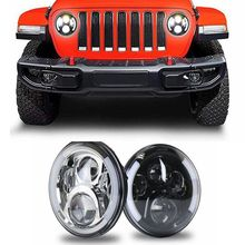7 Inch Projector LED Headlight Set Headlamps White Halo Angel Eye Amber Turn Signal Lights for Jeep Wrangler For Hummer цена 2017