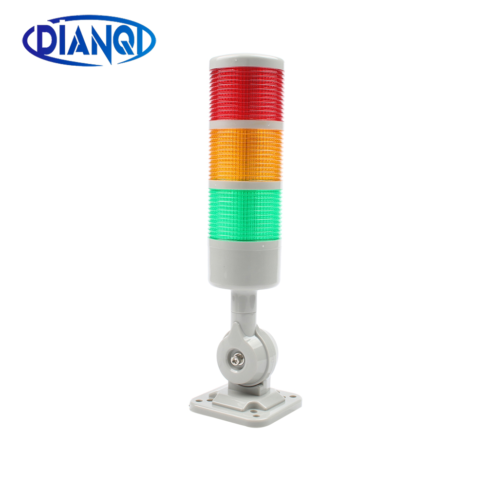 3 layers Rotatable 180 Stack light Red warning light industrial for CNC machine DC 24V 12V AC220V 110V Steady flashing light LED(China)