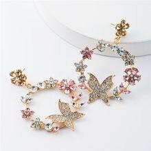 Europejska osobowość kreatywne kolczyki Rhinestone kobiety Garland Butterfly Dream kolczyki popularne Party rodzinne codzienne akcesoria