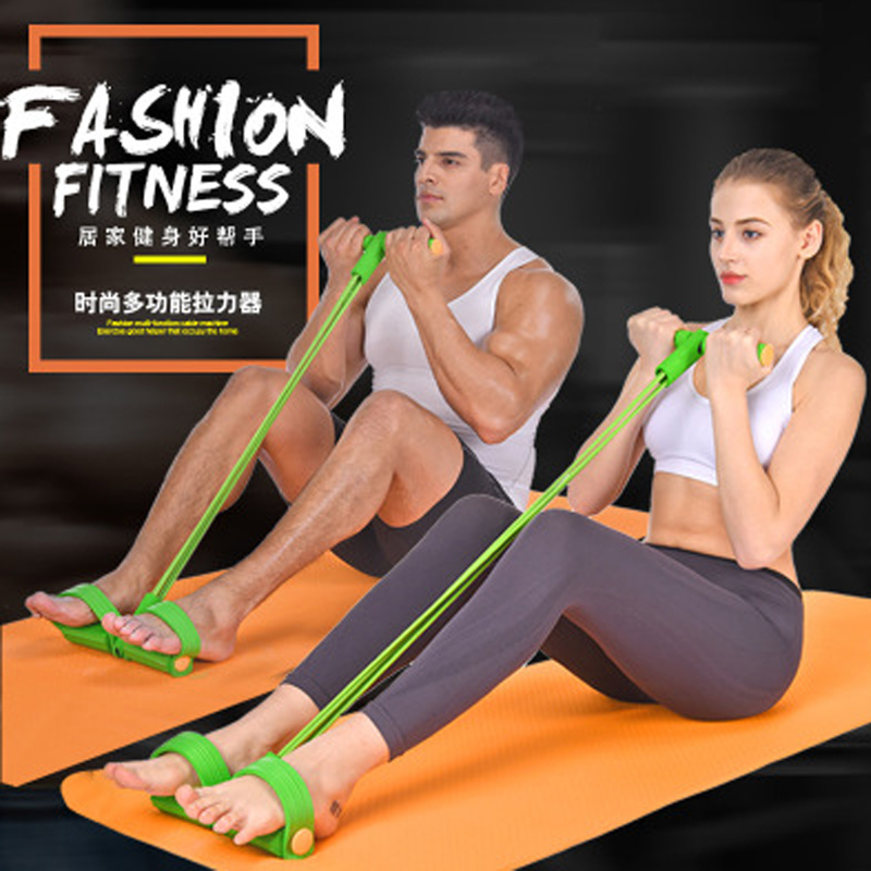 Fitness Equipment 4 Tube Tension Trainer Sports Foot Expander Chest Pull Leg Latex Draw Rope Gymnastics Rope Resistance Bands