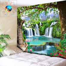 3D Wall Art Psychedelic Tapestry Hanging Mandala Waterfall Flowers Hippie Multi-function Living Room