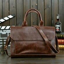 Men Leather Black Briefcase Business Handbag Messenger Bags Male Vintage Shoulder Bag Men's Large Laptop Travel Bags Hot недорого