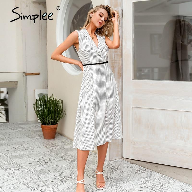 Simplee Sleeveless Polka Dot Women Midi Dress V Neck A-line Female Streetwear Dresses Elegant Spring Summer Ladies Dresses 2020