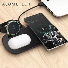 3 in 1 Wireless Charger for Samsung Galaxy Watch Active for Galaxy Buds 10W QI Wireless Phone Charger Pad for Samsung iPhone