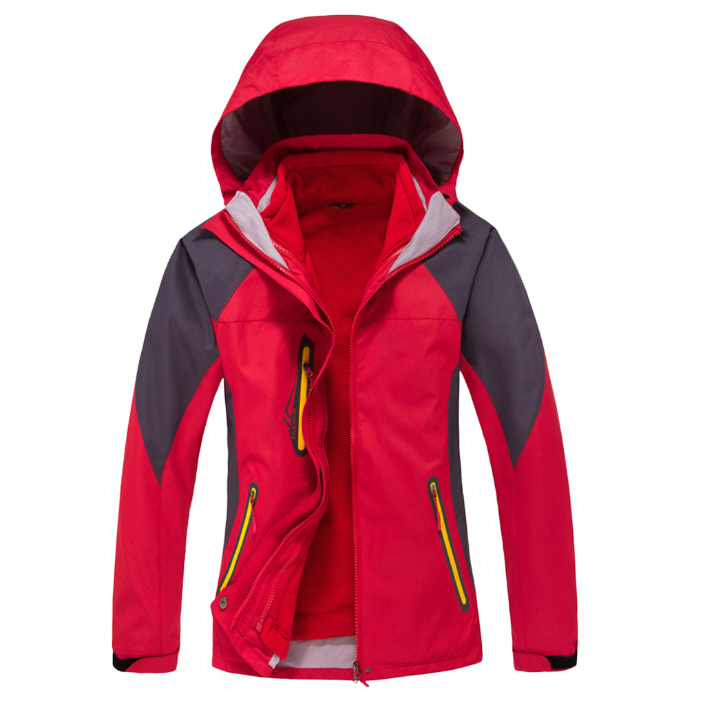 Women 2 In 1 Outdoor Ski Jacket With Removable Fleece Liner Jacket & Hooded Waterproof Soft Shell L/XL/XXL For Hiking Trekking