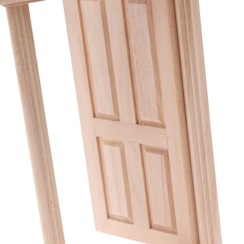 Novo diy de madeira spire porta da boneca casa acessórios fingir jogar brinquedo para crianças 1:12 boneca casa móveis simulação miniaturas
