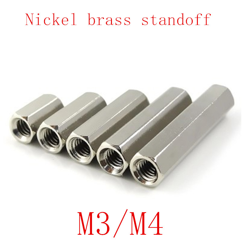 10-20PCS/10PCS m3 <font><b>M4</b></font> F to Female nickel <font><b>Brass</b></font> <font><b>Standoff</b></font> Spacer M3 Hexagonal Stud Spacer Pillars image