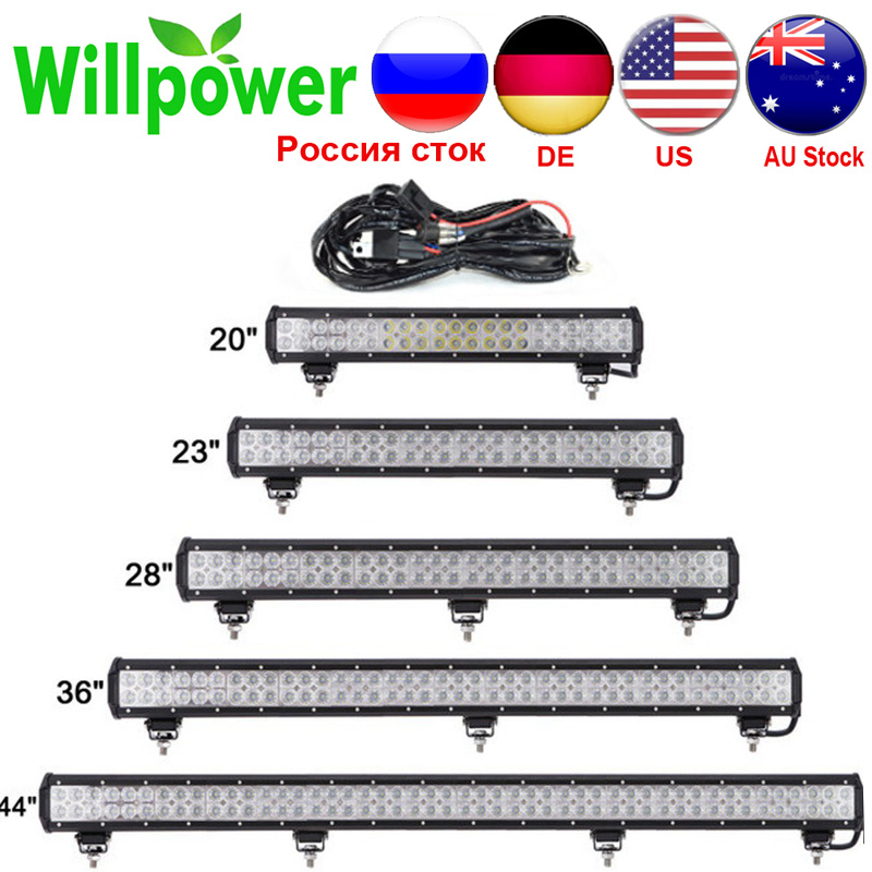 20''23''28''36''44''  LED Light Bar For 4x4 Off Road Truck SUV ATV Boat Car 4WD 12V 24V Combo Beam Led Work OffRoad Bar Lights