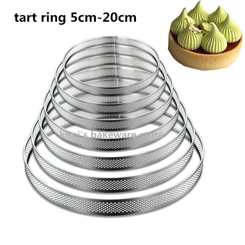 5cm-20cm tart ring Fruit Pie Circle <font><b>Round</b></font> stainless Straight Edge perforated tart ring quiche ring tart <font><b>pan</b></font> pie tarte ring image