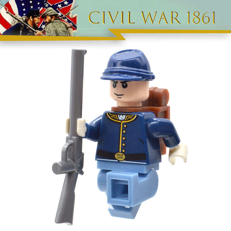 Limited Lot American Civil War Soldier North US Revolutionary War MOC Building Blocks Toy for Children-in Blocks from Toys & Hobbies