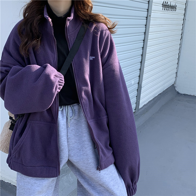 Women Zipper Pocket Jackets Letter Printed Long Sleeve Loose Lapel Jackets Plus Velvet Casual Autumn Winter Street Sweatshirts