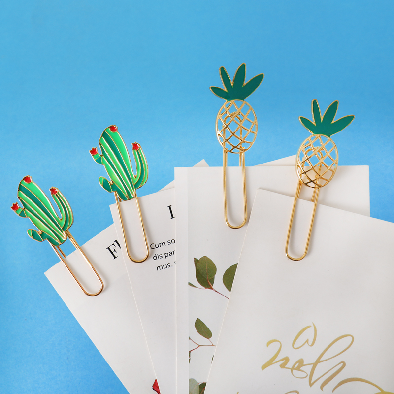 TUTU Cute Cactus Pineapple Paper Clips Candy Brooch Student Paper Organizer Clip Bookmark Stationery Supplies H0440