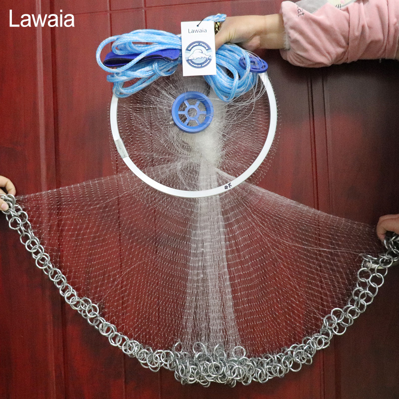 Lawaia Casting Net American Hand Throwing Net Korean Chain Hand Throw Small Mesh Fishing Net Diamter 2 4M 4 2M High Quality Nets in Fishing Net from Sports Entertainment