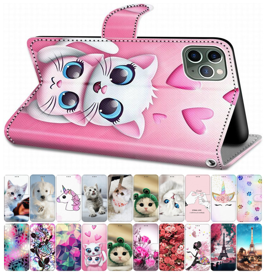 For Case Alcatel 1 1S 2019 3 3X 2018 Flip Leather Book Cover Phone Case Box Tiger Wolf Lion Cat Dog Unicorn Horse Tower DP08F(China)