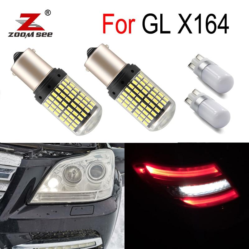 4pcs Canbus White LED Reverse Exterior Lamp + Parking Light Bulb For Mercedes Benz GL X164 GL350 GL450 GL500 (2006-2012)