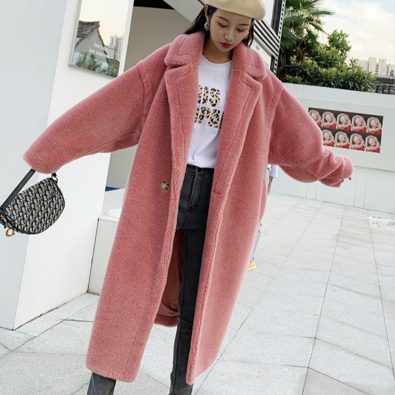 Real Fur Sheep Shearing Winter Coat Korean Oversize Wool Jacket Women Clothes 2020 Manteau Femme BDY19629YY1100