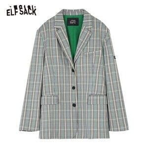 Image 5 - ELFSACK Vintage Plaid mujer Blazers, 2019 otoño nuevo solo Breasted mujer Casual abrigos moda suelta Oficina señora ropa
