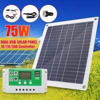 30 W/50 W/60 W/75 W لوحة طاقة شمسية المزدوج USB الناتج الخلايا الشمسية لوحة طاقة شمسية 10/20/30A تحكم ل اليخت سيارة 12V بطارية قارب شاحن-في خلايا شمسية من الأجهزة الإلكترونية الاستهلاكية على