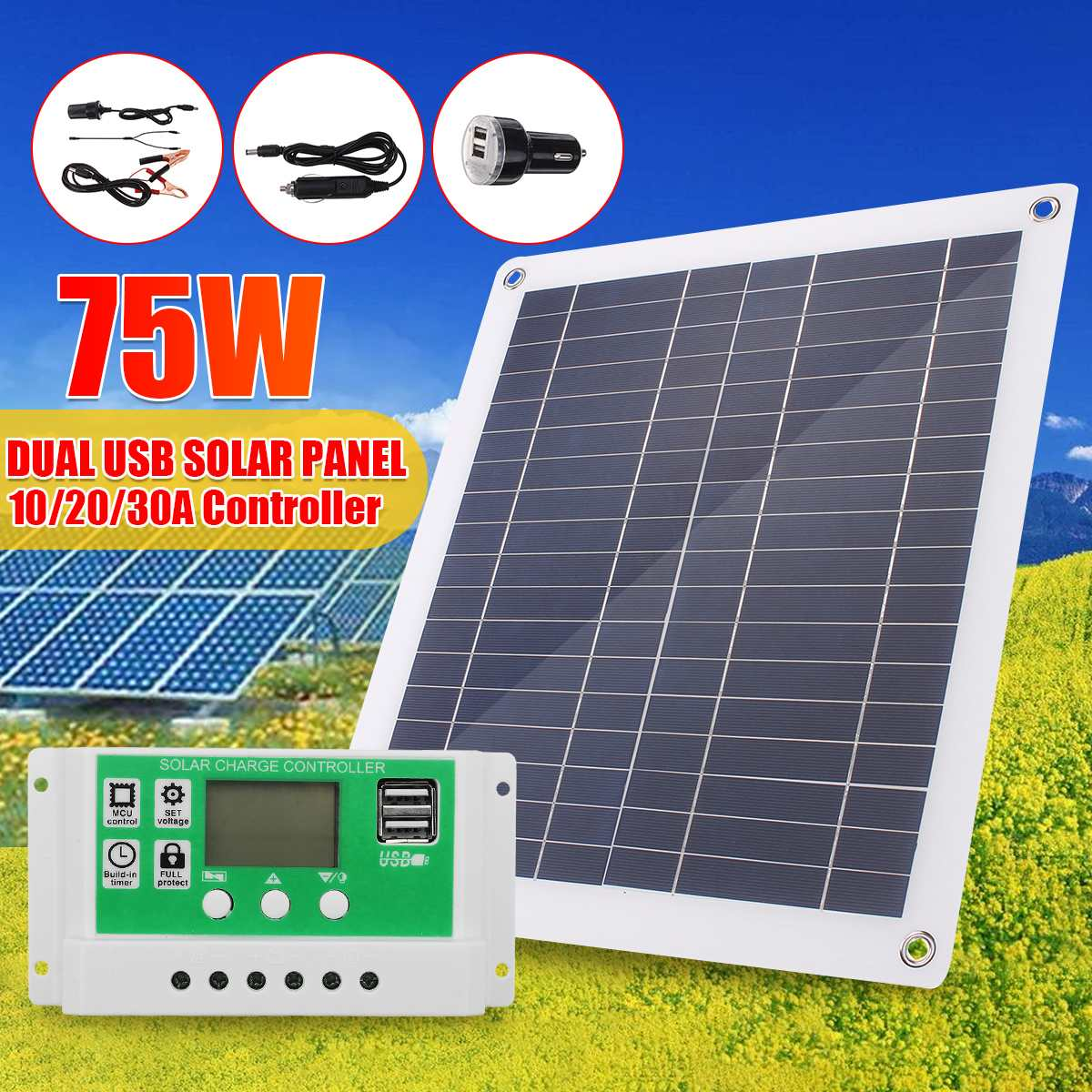 30W/50W/60W/75W Solar Panel Dual USB Output Solar Cells Solar Panel 10/20/30A Controller For Car Yacht 12V Battery Boat Charger