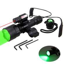 Tactical Green/Red/White Flashlight Set Hunting Torch +Laser Dot Sight Scope+ +18650 Battery+Pressure Switch Mount +USB Charger
