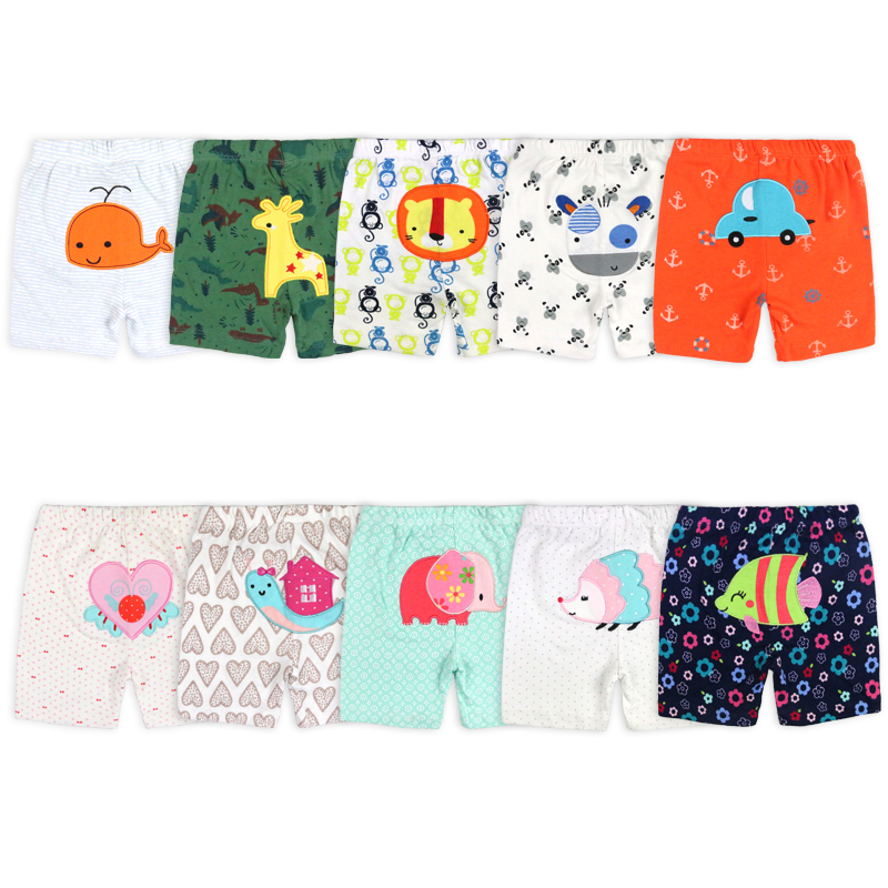[2 Pcs/Lot Random Color]Cartoon Print Newborn Baby Shorts Cotton Infant Short Pants Summer Toddler Costume 3-24 Months