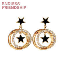 Endless Friendship Golden Diamond Round Star Earring Newest Fashion Earrings For Women European Design Dropshipping Gift
