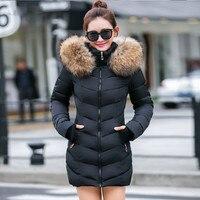 Frauen unten jacke Casual Baumwolle winter jacke Lange Parkas Abnehmbarer pelz kragen, abnehmbare hut und handschuhe Warme weibliche Mantel