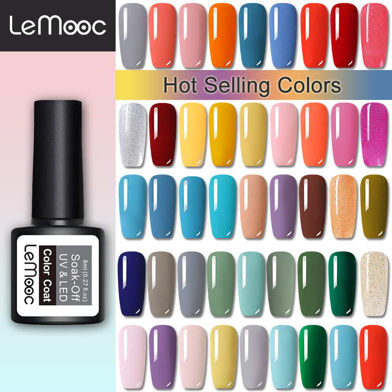 LEMOOC 8ml Nail Gel Polish Base Top Matte Coat Soak Off Permanant  UV Gel Varnish Nail Art Varnish Decoration For Nails