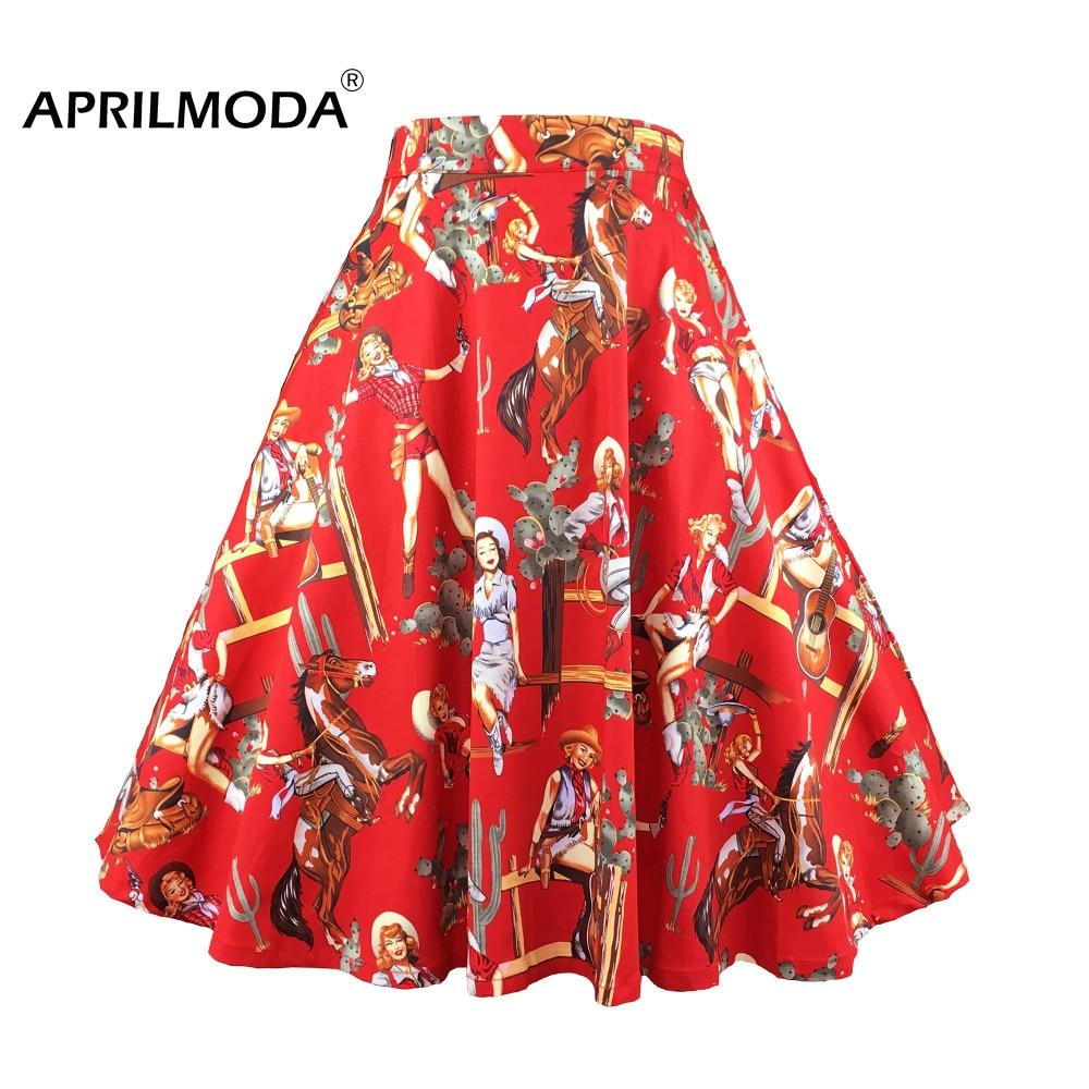 Western Girl 50s Rockabilly Skirt High Waist Retro Vintage Cotton Big Swing Skater Pin Up Summer Casual Skirt Women's Clothing