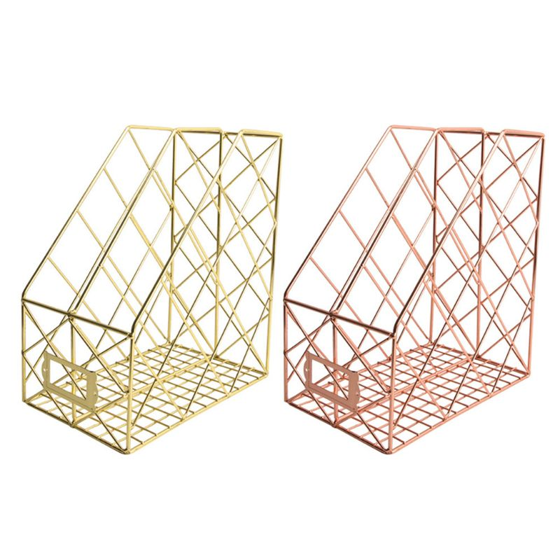 Nordic Wrought Iron Grid File Holder Simple Double Layer Desk Shelf Book Storage H3CA